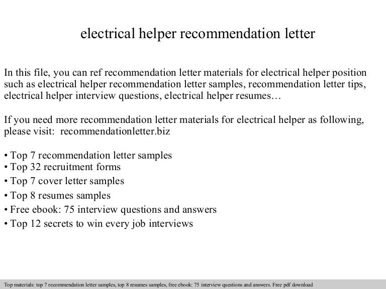 Electrical helper recommendation letter