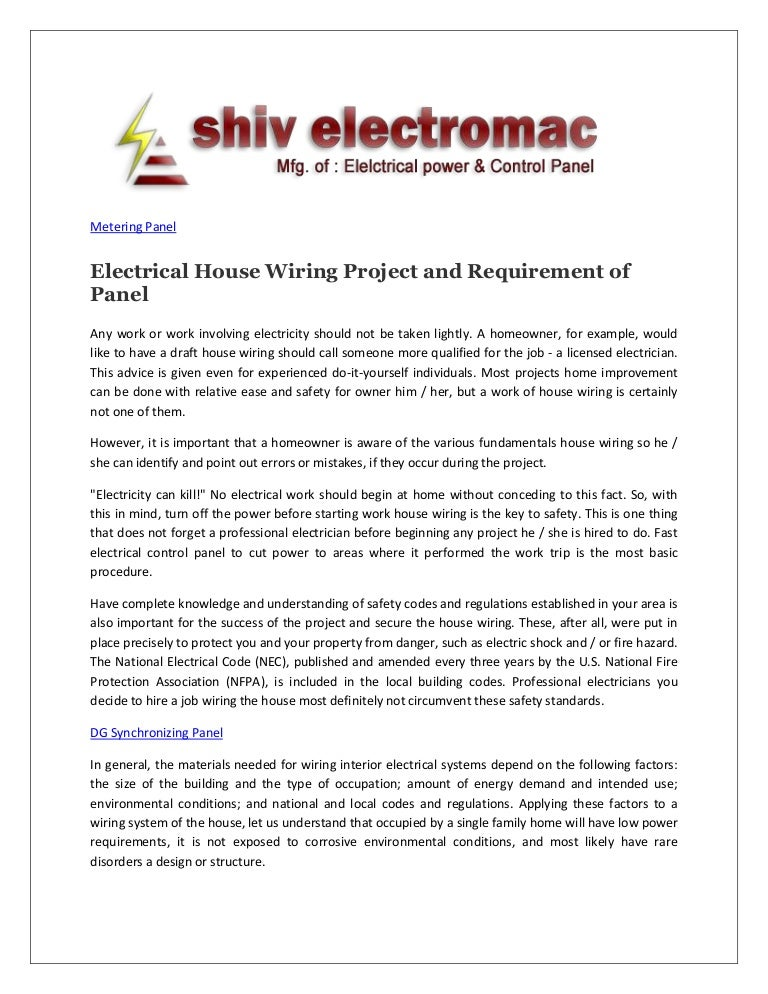 Electrical House Wiring Project and Requirement of Panel