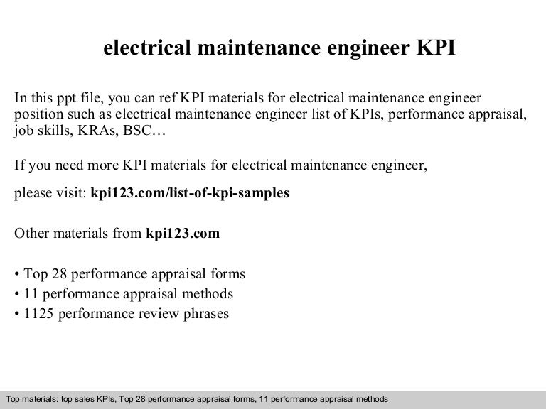 Electrical Maintenance Engineer Kpi