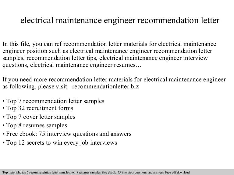 Electrical maintenance engineer recommendation letter