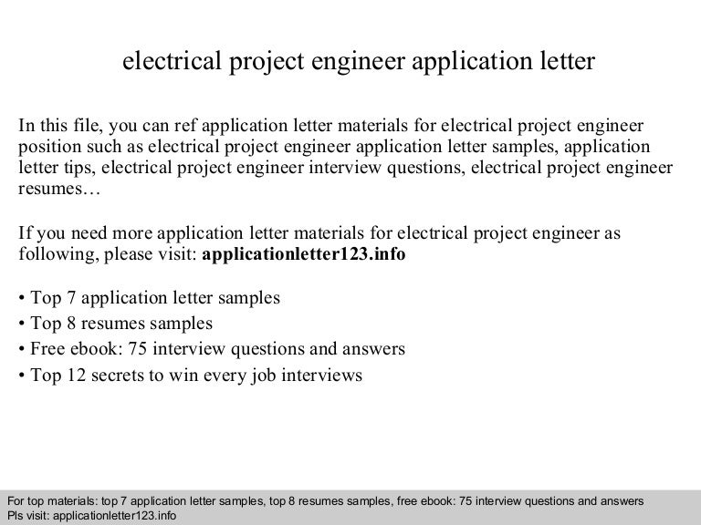 electrical project engineer application letter - Electrical Project Engineer Sample Resume