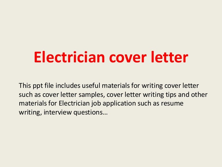 journeyman electrician cover letter - Sample Journeyman Electrician Cover Letter