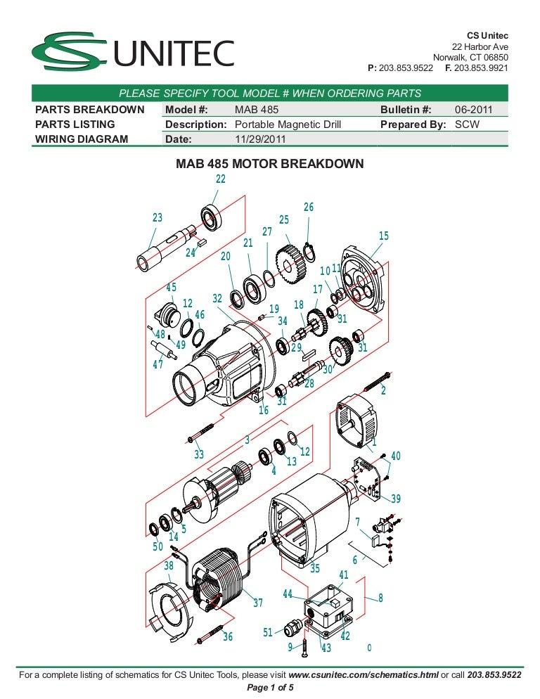 cs unitec electric magnetic drills schematic mab 485 rh slideshare net