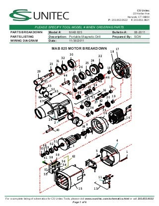 CS Unitec Electric Magnetic Drills Schematic: MAB 825