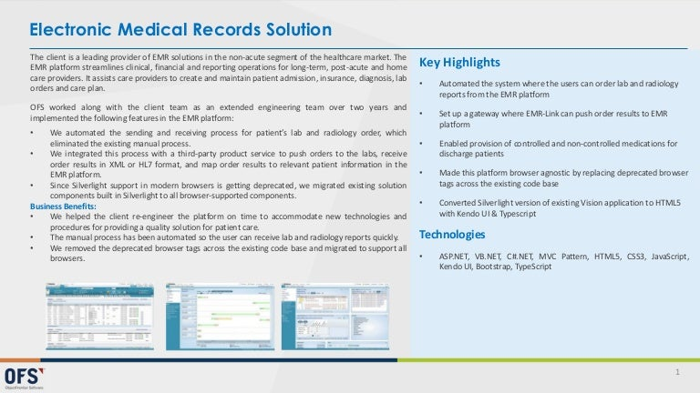 Electronic medical records solution