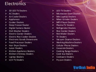 Electronics like cooking dealers, Pumps and Pipe Fitting, Machinery and Tools etc in hyderabad