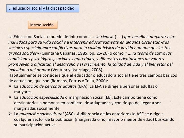 El Educador Social Y La Discapacidad