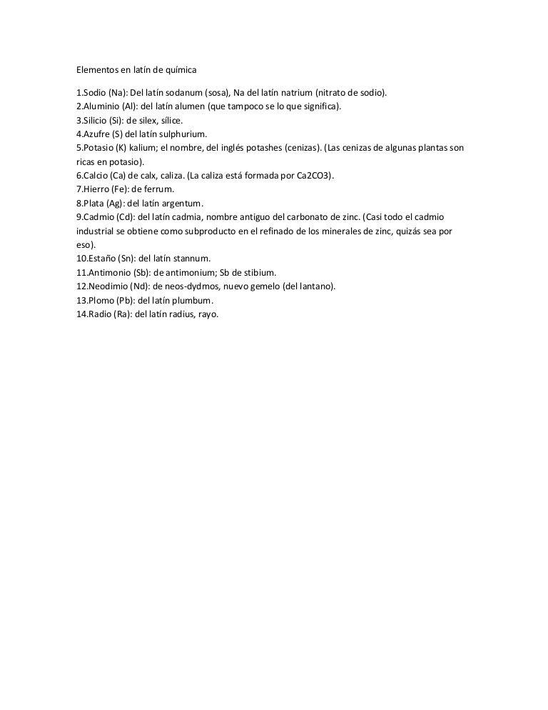 elementos en latn de qumica - Tabla Periodica De Los Elementos Quimicos Con Nombres En Latin