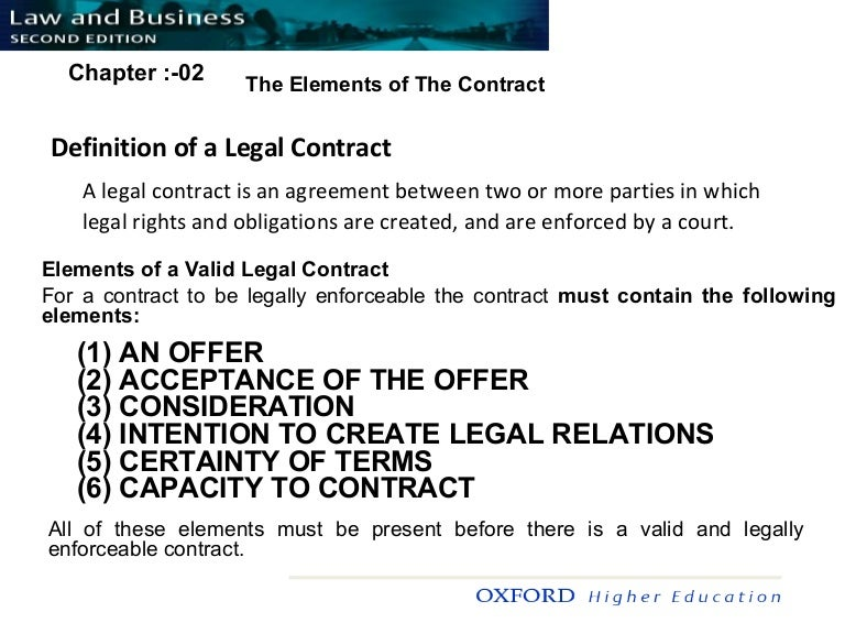Elements Of Contract Chapter