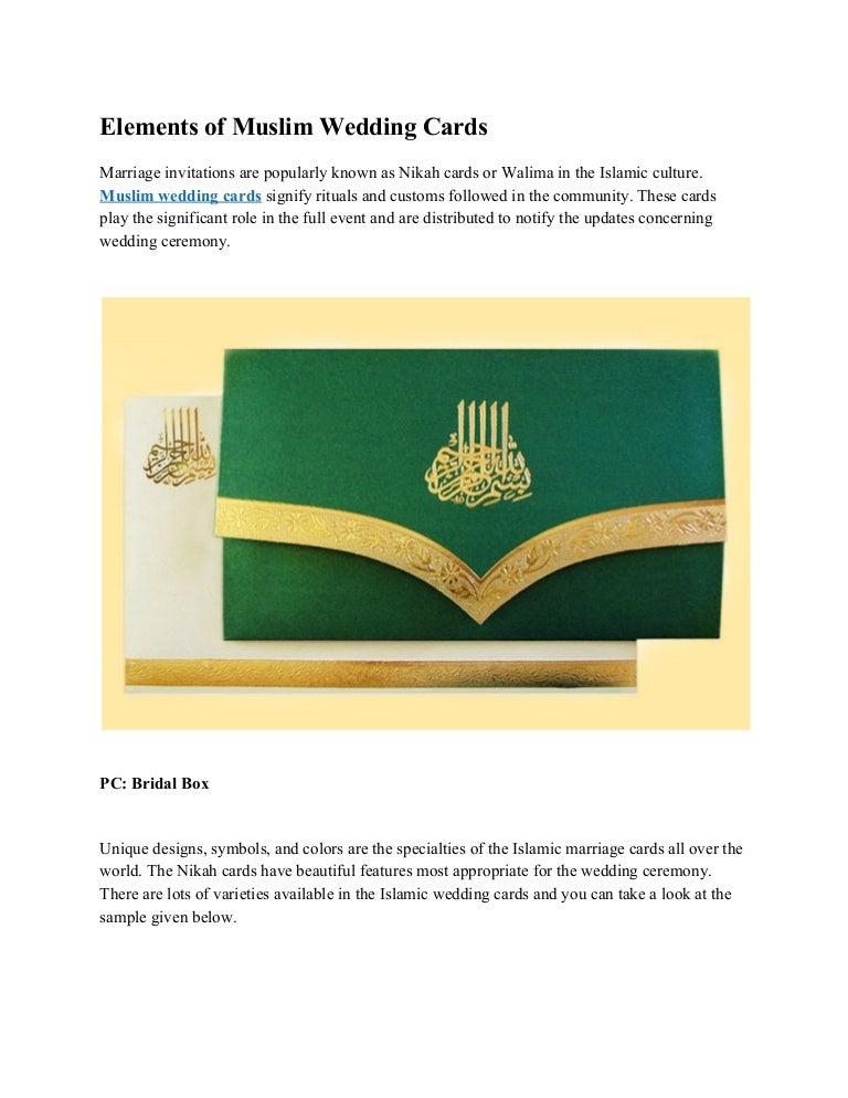 elements of muslim wedding cards