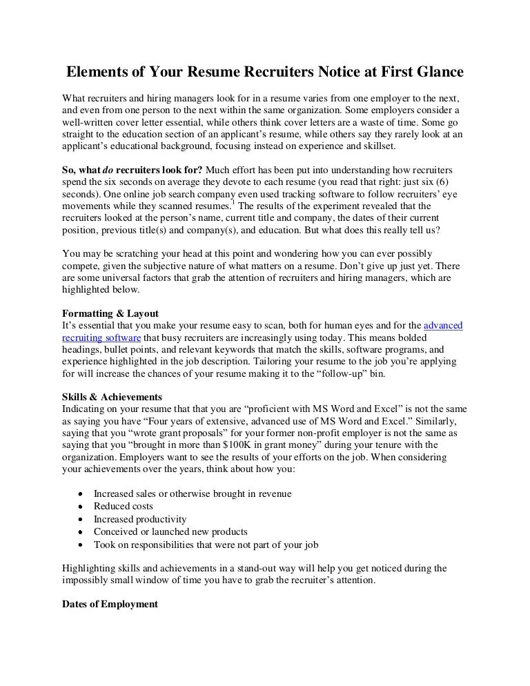 Elements of Your Resume Recruiters Notice at First Glance