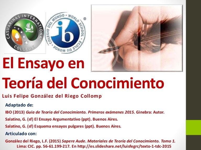 El ensayo de Teoría del Conocimiento (Diploma IB Guía 2015)
