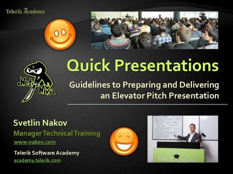 Quick Presentations Skills - Impressive Elevator Pitch Talks - by Sve…