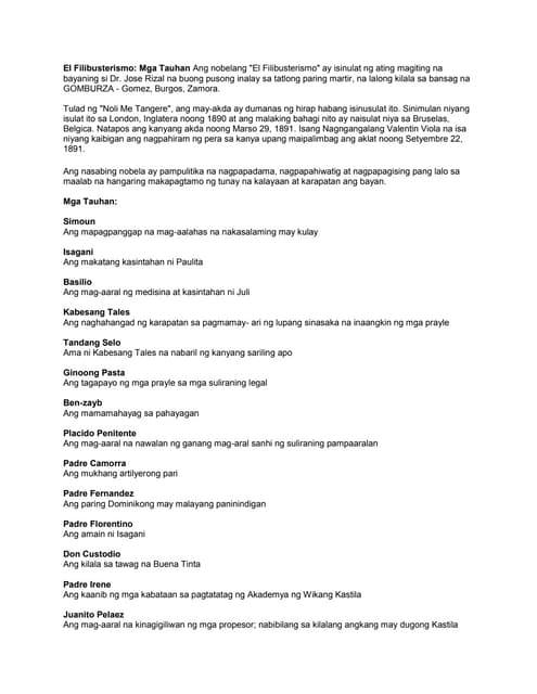 El filibusterismo (BUOD) by Rhean Cabaña