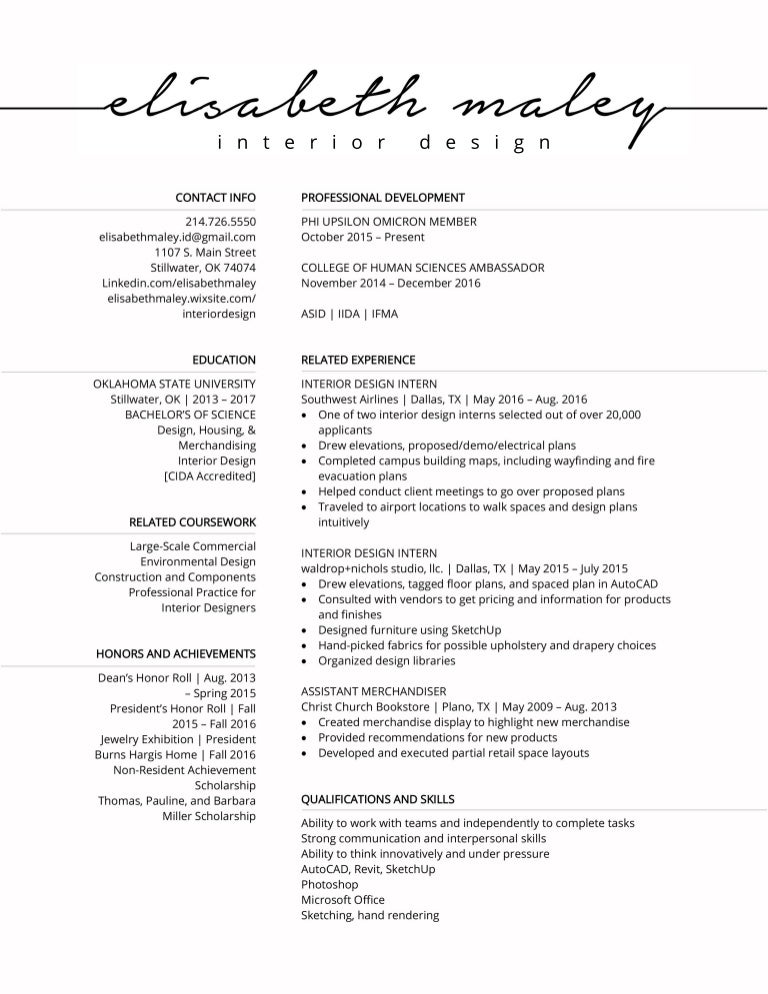 Elisabeth Maley Interior Design Resume
