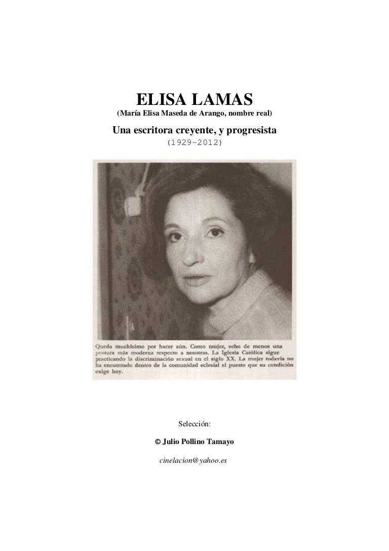 ELISA LAMAS, una escritora creyente y progresista