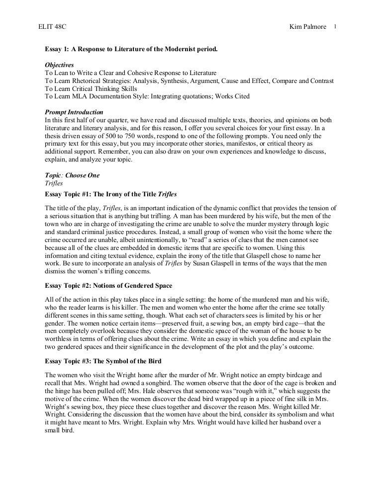 Trifles feminist essay