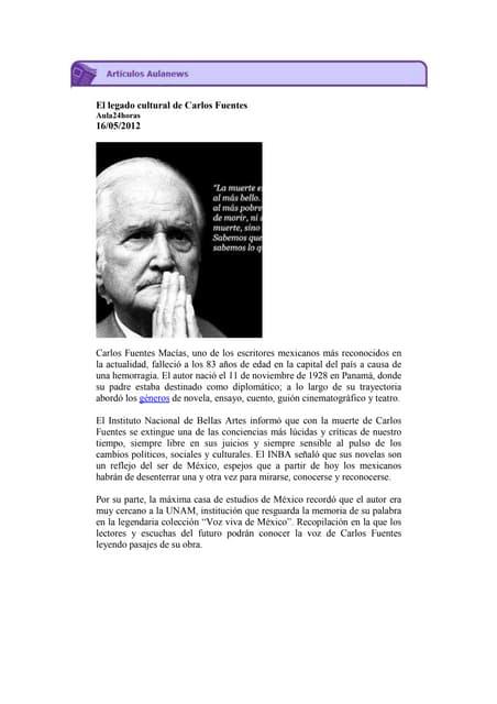 El legado cultural de Carlos Fuentes