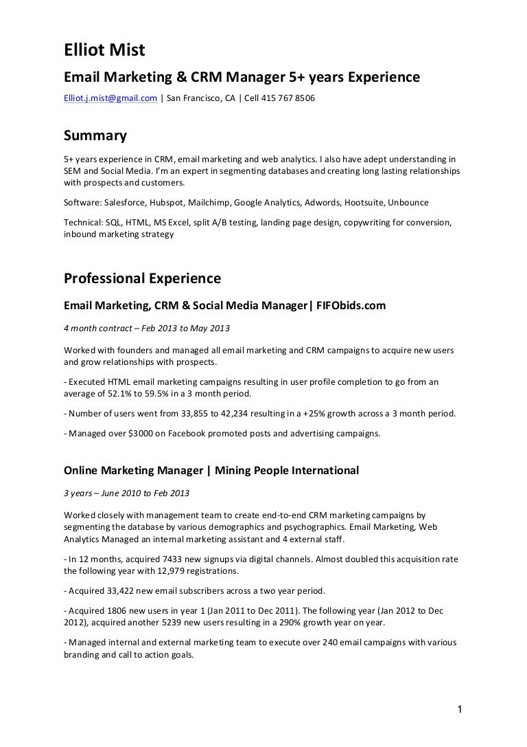 cv email marketing crm - Email Marketing Cover Letter