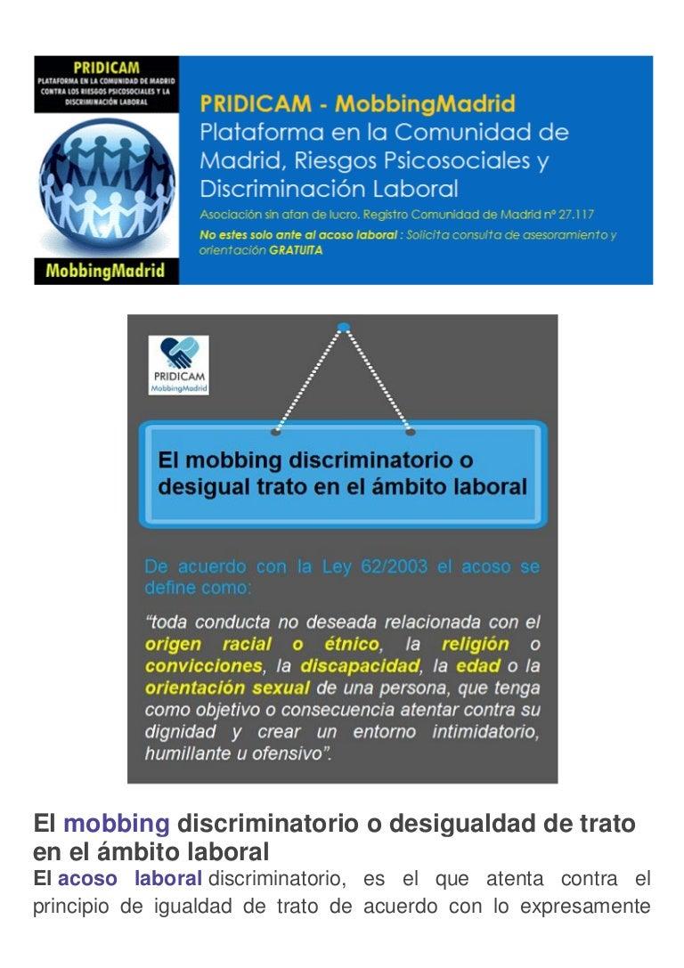 El mobbing discriminatorio o desigualdad de trato en el ámbito labora…