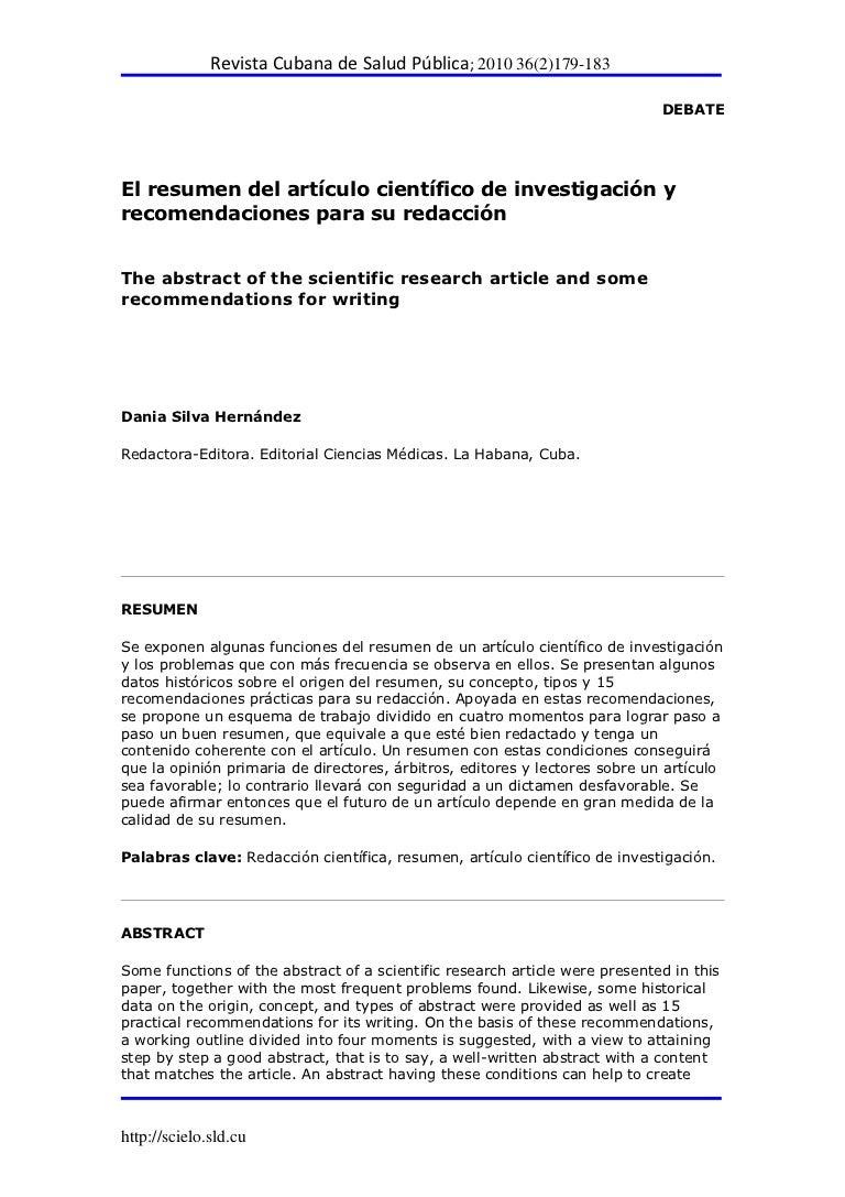 El resumen del artículo científico de investigación
