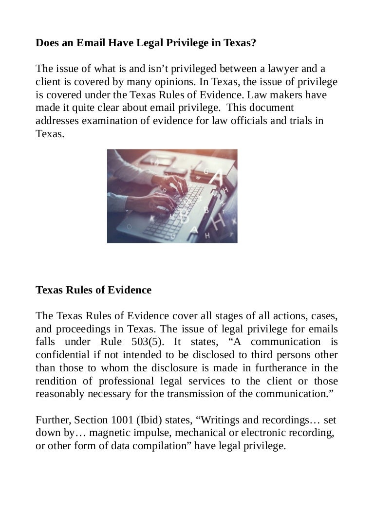 Does an Email Have Legal Privilege in Texas?