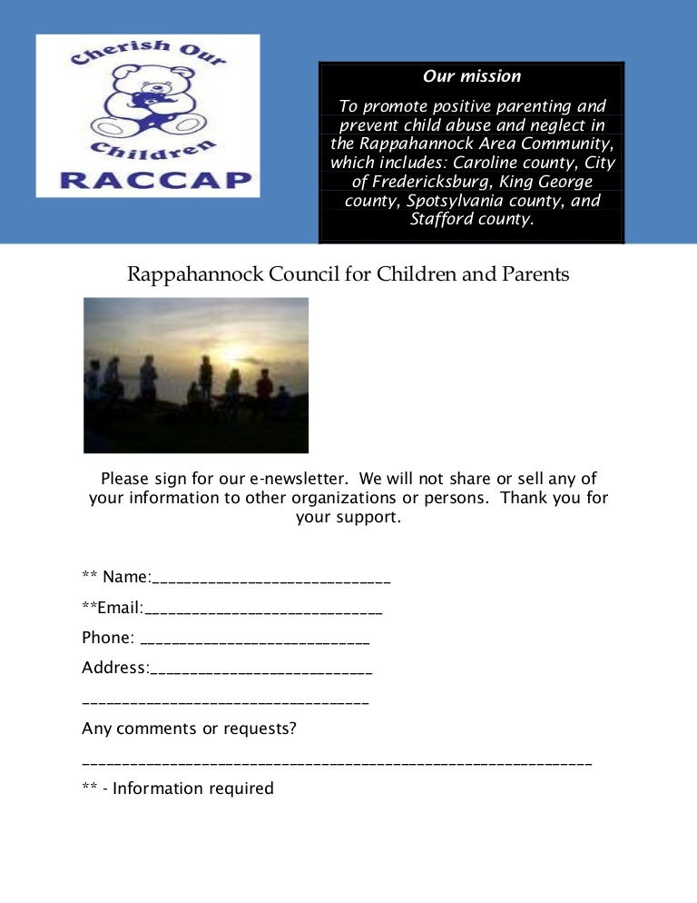 raccap email sign up sheet