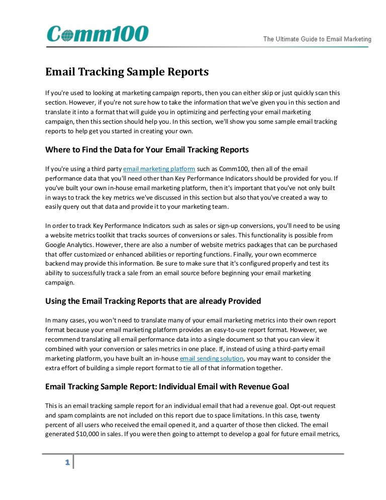 Email Tracking Sample Reports