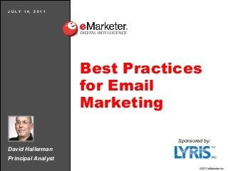 eMarketer Webinar: Best Practices for Email Marketing