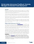 Embarcadero Announces ToolCloud: Centrally Managed, On-Demand Tools Deployment