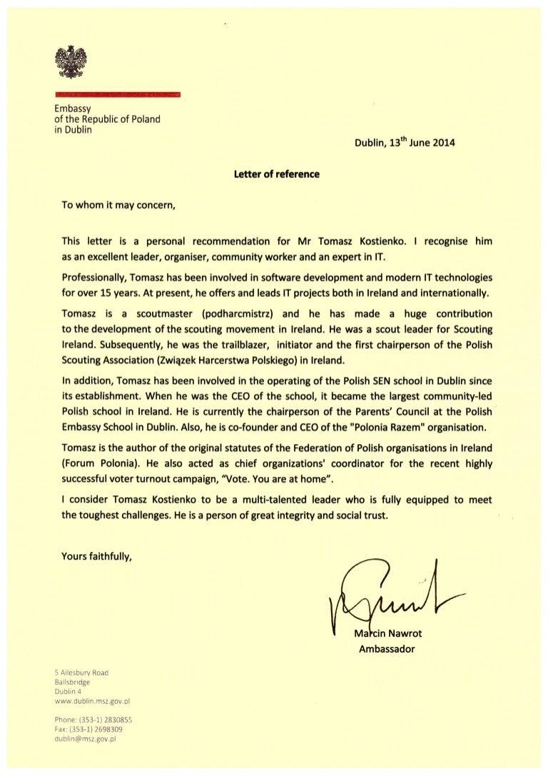 ambassador recommendation letter from