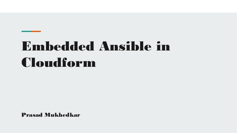 Ansible Automation Inside Cloudforms ( Embedded Ansible)