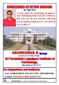 Embedded System Design Notes written by Arun Kumar G, Associate Professor, Dept. of E&C, STJIT, Ranebennur, Karnataka, INDIA.