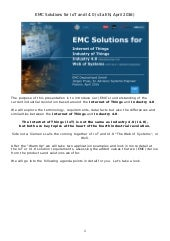 EMC Solutions for the Internet of Things and Industrie 4.0 - Platforms (Handout EN) <<< OUT OF DATE - NEW VERSION AVAILABLE >>>