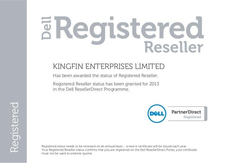 Dell Registered Partner Certificate