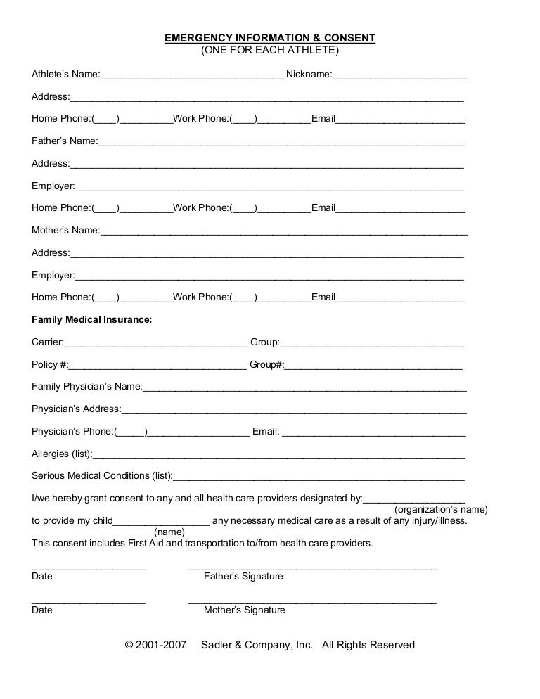 Emergency Information  Medical Consent Form