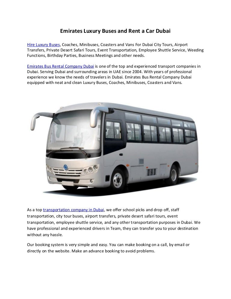 Emirates Luxury Buses And Rent A Car Dubai