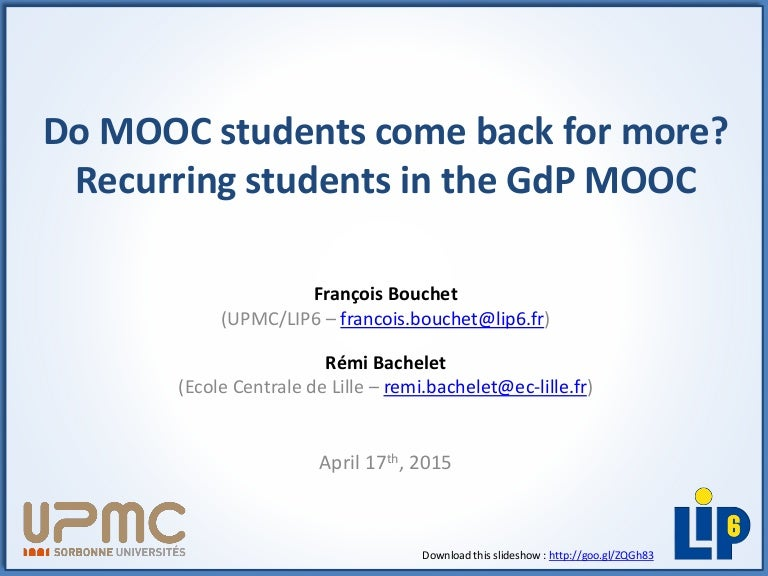 EMMOCs2015 - Do MOOC students come back for more? Recurring