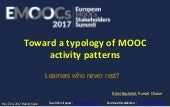 Emoocs2017 Toward a typology of MOOC activity patterns.  Learners who never rest? Rémi BACHELET, Rawad CHAKER
