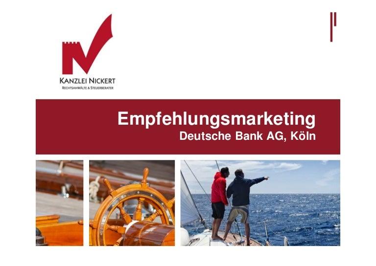 Deutsche Bank Empfehlung Geschenk präsentation zum referat für die deutsche bank