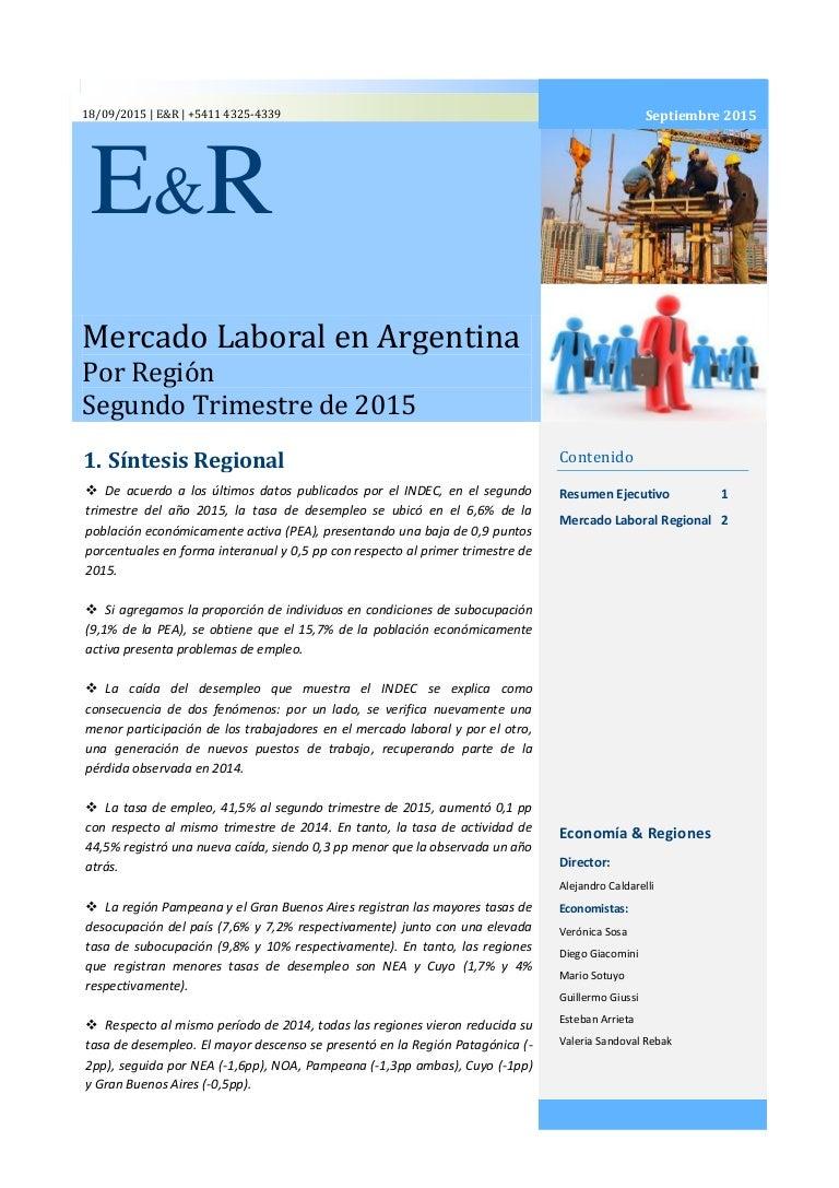 Informe Especial sobre el Empleo y Desempleo a Nivel Regional, con da…