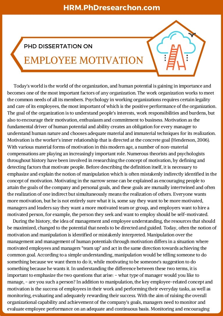 Dissertation on staff motivation