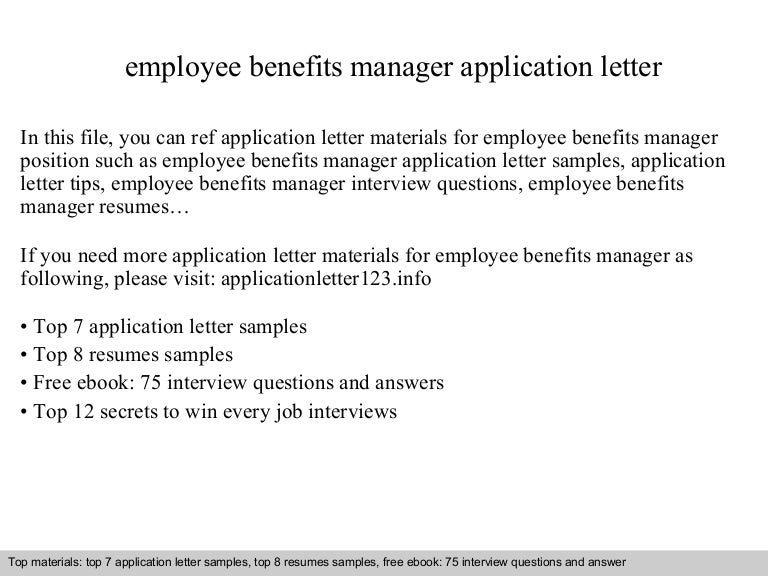 Employee Benefits Manager Application Letter