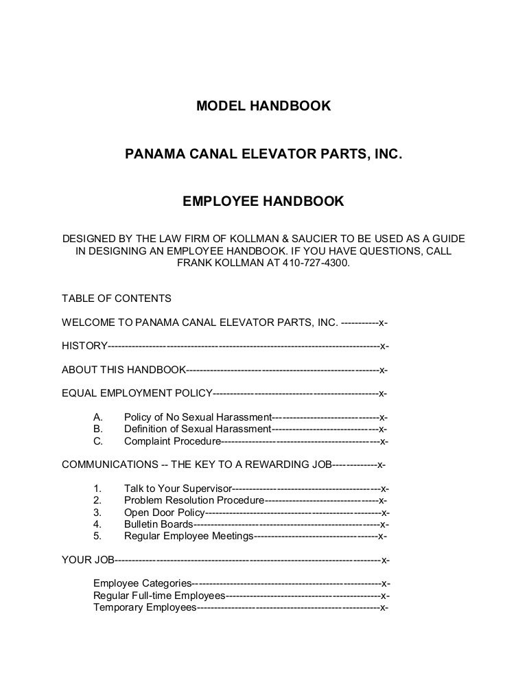 Employee Handbook Template - Basic employee handbook template