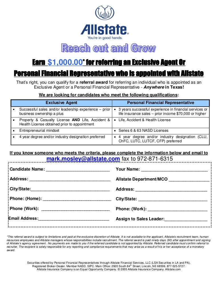 Employee Referral Form $1000 All