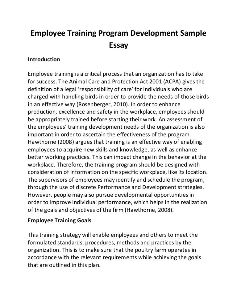 training and development essay Technology-aided training and development activities for leadership development what more traditional development activities would you recommend the ihg include in the development program to make it more effective.