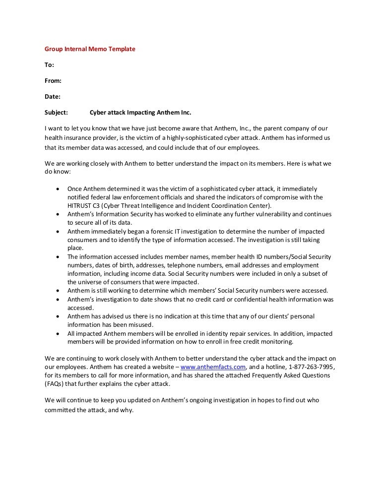Employer Group Internal Memo Template
