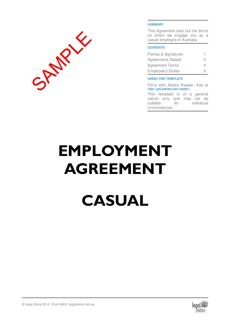 Casual Employment Agreement Template Sample – Casual Employment Agreement