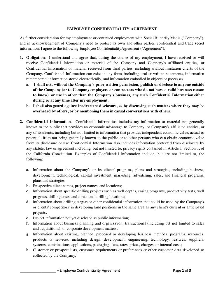 Empolyee Confidentiality Agreement