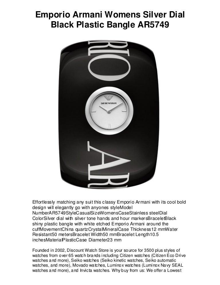 caab404e Emporio armani womens silver dial black plastic bangle ...